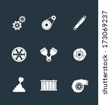 Car parts flat icons - stock vector