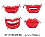 smiling female lips vector set