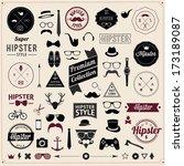 Set of Vintage styled design Hipster icons. Vector illustration background  | Shutterstock vector #173189087