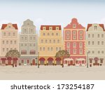 old town street with cafes and... | Shutterstock .eps vector #173254187