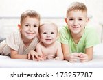 family happiness   three little ... | Shutterstock . vector #173257787