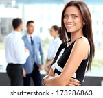 face of beautiful woman on the... | Shutterstock . vector #173286863