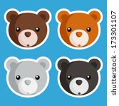 set of cute baby bear icons | Shutterstock .eps vector #173301107