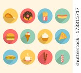 fast food colorful flat design icons set. template elements for web and mobile applications | Shutterstock vector #173315717