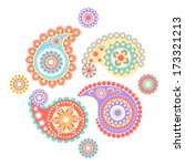 colorful indian pattern vector | Shutterstock .eps vector #173321213