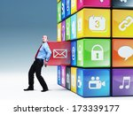 businessman push icon abstract... | Shutterstock . vector #173339177