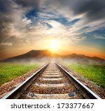 railroad to the mountains at...   Shutterstock . vector #173377667