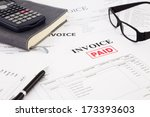 close up picture of invoices... | Shutterstock . vector #173393603