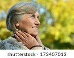 happy elderly woman in autumn... | Shutterstock . vector #173407013