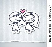 hand drawn wedding couple | Shutterstock .eps vector #173502827