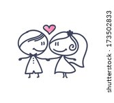 hand drawn wedding couple | Shutterstock .eps vector #173502833