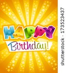 colorful birthday greeting card | Shutterstock . vector #173523437
