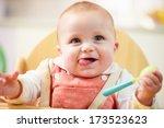 portrait of happy young baby...   Shutterstock . vector #173523623