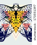 fashion illustration of leopard ... | Shutterstock .eps vector #173551397