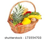 many food in basket isolated on ... | Shutterstock . vector #173554703