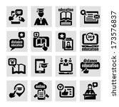 elegant education concept icons ... | Shutterstock .eps vector #173576837