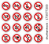set prohibited symbols on paper ... | Shutterstock .eps vector #173577203