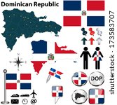 Vector of Dominican Republic set with detailed country shape with region borders, flags and icons