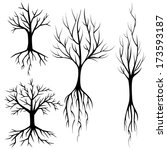 vector silhouettes of trees... | Shutterstock .eps vector #173593187