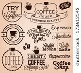 collection of retro coffee... | Shutterstock .eps vector #173612543