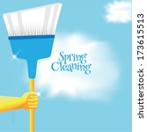 spring cleaning broom... | Shutterstock .eps vector #173615513