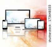 tablet pc  mobile phone ... | Shutterstock . vector #173648333