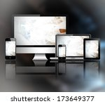 tablet pc  mobile phone ... | Shutterstock . vector #173649377