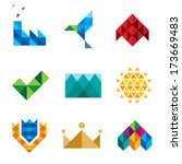 New generation computer pixel social triangle object logo set series isolated on white background icons