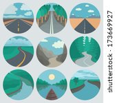 adventure,app,canyon,circle,cloud,collection,color,creek,design,emblem,extreme,flat,hiking,hill,icon