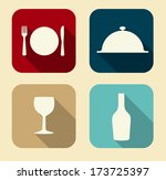 modern flat food icon set for... | Shutterstock .eps vector #173725397