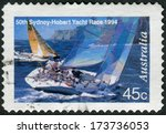 Small photo of AUSTRALIA - CIRCA 1994: Postage stamp printed in Australia, dedicated to the 50th anniversary of the international sailing race Sydney-Hobart, shows Two yachts abeam, circa 1994