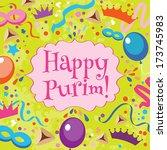 jewish holiday purim set.... | Shutterstock .eps vector #173745983