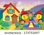 children playing near house... | Shutterstock .eps vector #173752697