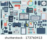 office and business flat design ... | Shutterstock .eps vector #173760413