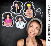 Small photo of Career choice options - student thinking of future education. Young Asian woman contemplating career options smiling looking up at thought bubbles on a blackboard with images of different professions