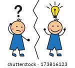 cartoon man with a question... | Shutterstock . vector #173816123