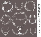wedding floral frames with... | Shutterstock .eps vector #173818127