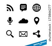 social media icons. flat icons. ... | Shutterstock . vector #173866277