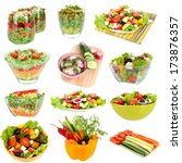 collage of  different salads...   Shutterstock . vector #173876357
