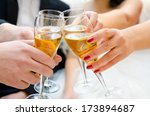 female and male hands with... | Shutterstock . vector #173894687