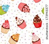 valentine cupcake seamless... | Shutterstock .eps vector #173943377