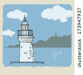 the lighthouse. vintage card.  | Shutterstock . vector #173947937