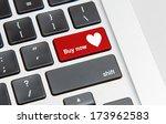 white keyboard with heart buy... | Shutterstock . vector #173962583