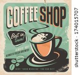 retro poster for coffee shop on ... | Shutterstock .eps vector #174015707