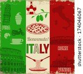 Italy travel grunge seamless pattern with national italian food, sights, map and flag