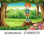 illustration of a boy at the... | Shutterstock .eps vector #174069173
