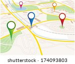illustration of a city map of a ... | Shutterstock . vector #174093803