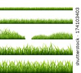6 Grass Borders  Vector...