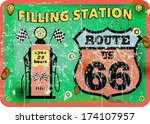 vintage gas station sign route... | Shutterstock .eps vector #174107957