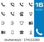 Vector Black Telephone Icons...